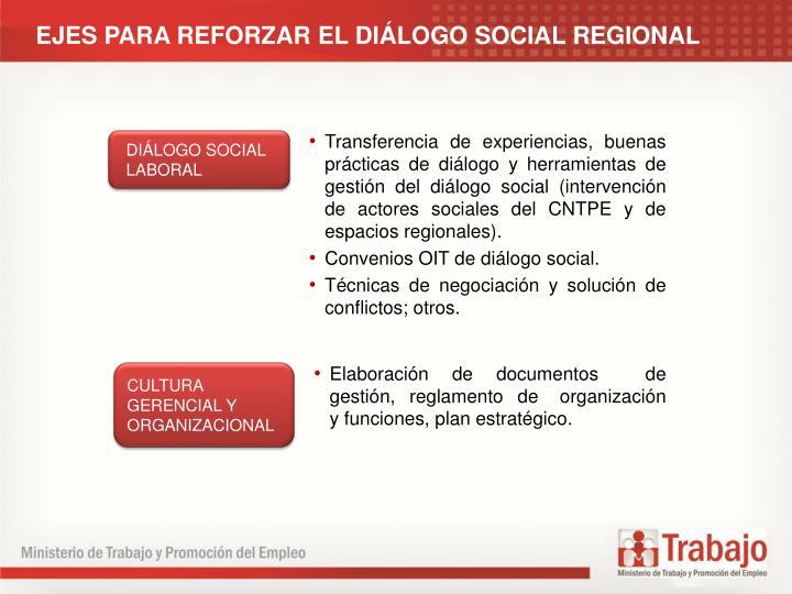 EJES PARA REFORZAR EL DILOGO SOCIAL REGIONAL