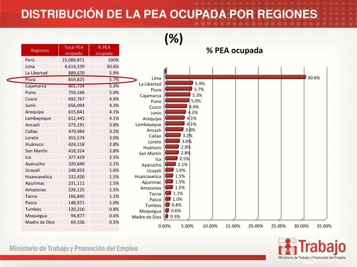 DISTRIBUCIN DE LA PEA OCUPADA POR REGIONES