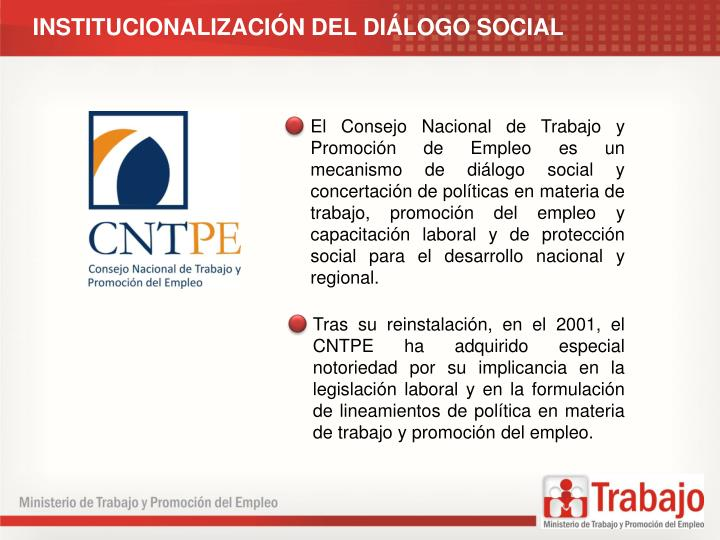 INSTITUCIONALIZACIN DEL DILOGO SOCIAL