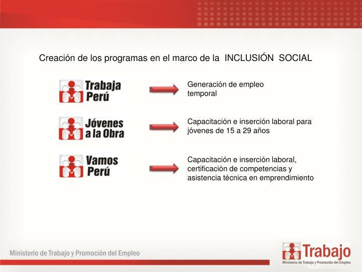 Creacin de los programas en el marco de la  INCLUSIN  SOCIAL