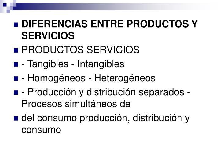 DIFERENCIAS ENTRE PRODUCTOS Y SERVICIOS