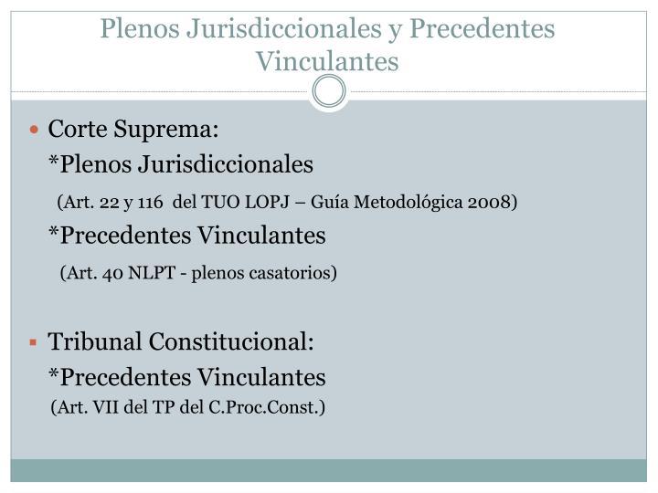 Plenos Jurisdiccionales y Precedentes Vinculantes