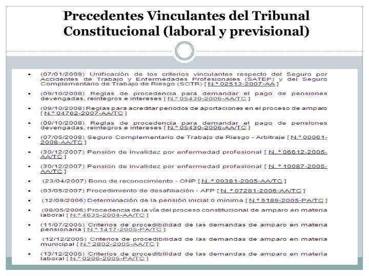 Precedentes Vinculantes del Tribunal Constitucional (laboral y previsional)