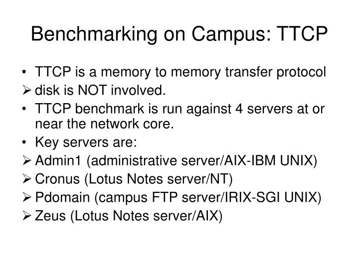 Benchmarking on Campus: TTCP