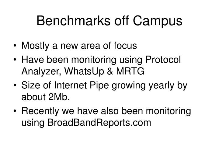 Benchmarks off Campus