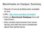 benchmarks on campus summary