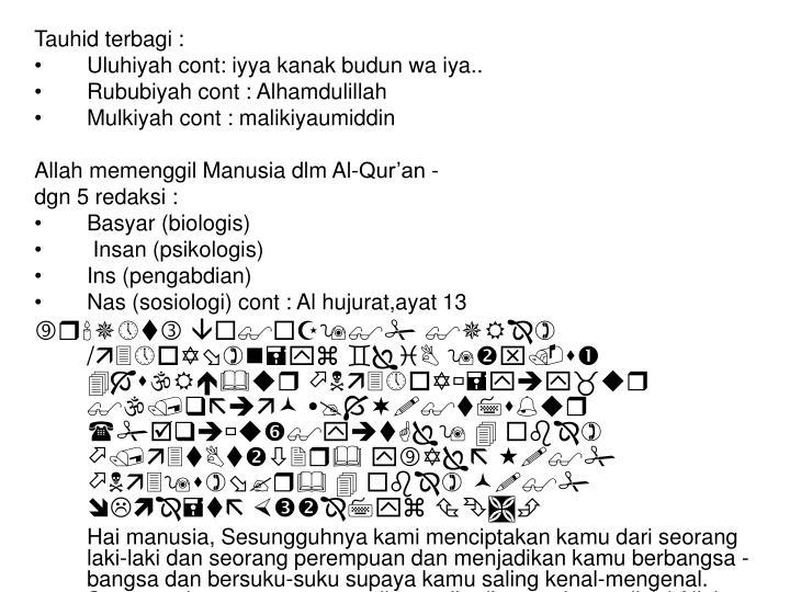 Tauhid terbagi :