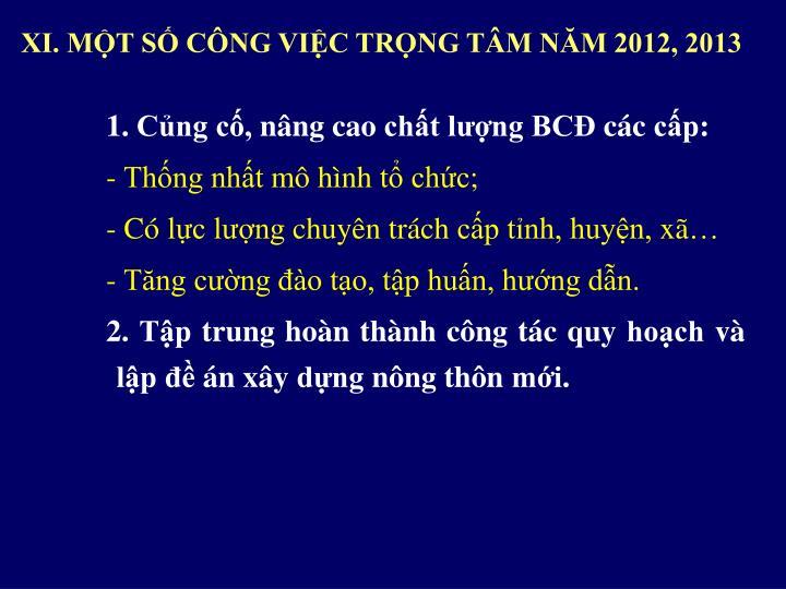 XI. MỘT SỐ CÔNG VIỆC TRỌNG TÂM NĂM 2012, 2013