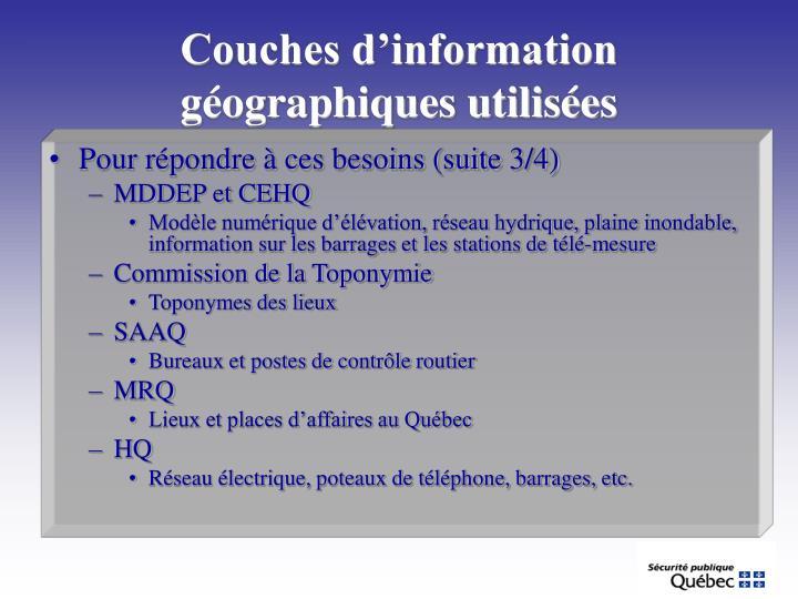 Couches d'information géographiques utilisées