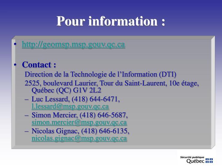 Pour information :
