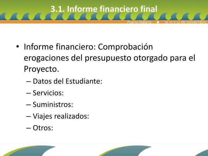 3.1. Informe financiero final
