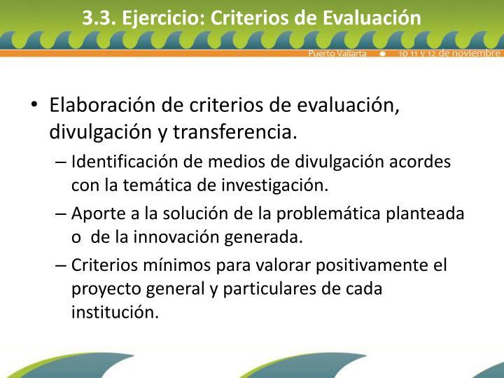 3.3. Ejercicio: Criterios de Evaluación