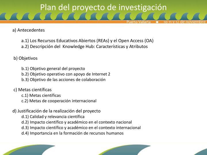 Plan del proyecto de investigación