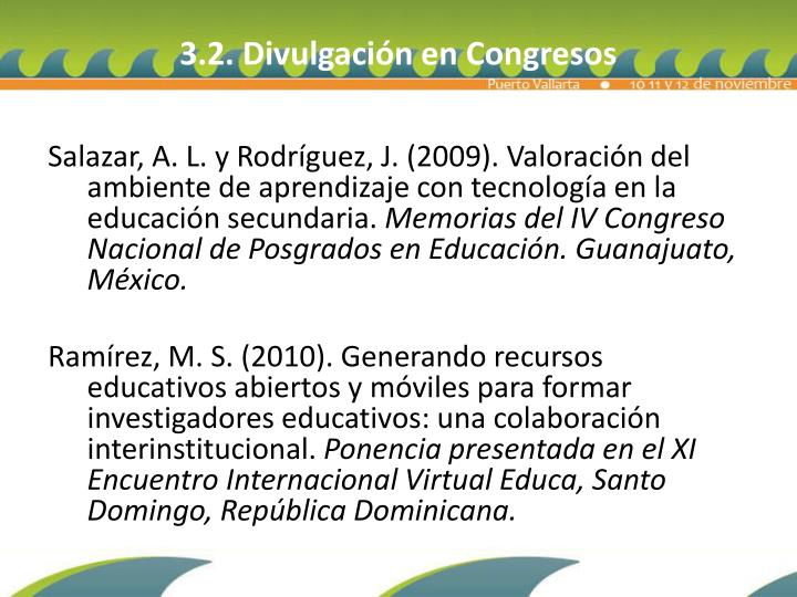 3.2. Divulgación en Congresos