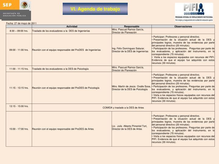 VI. Agenda de trabajo