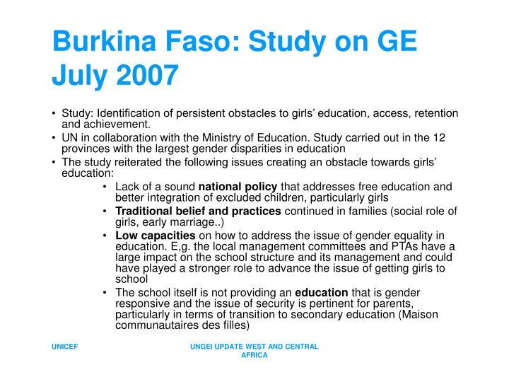 Burkina Faso: Study on GE July 2007