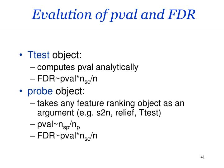 Evalution of pval and FDR