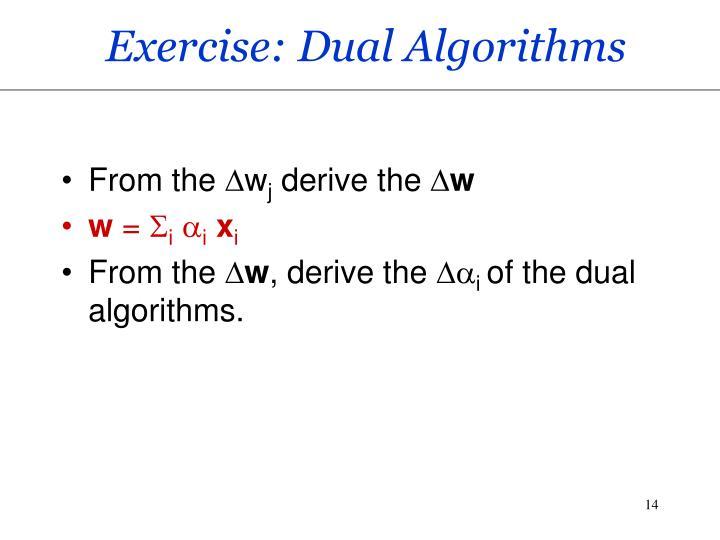 Exercise: Dual Algorithms