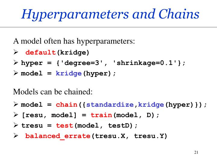 Hyperparameters and Chains