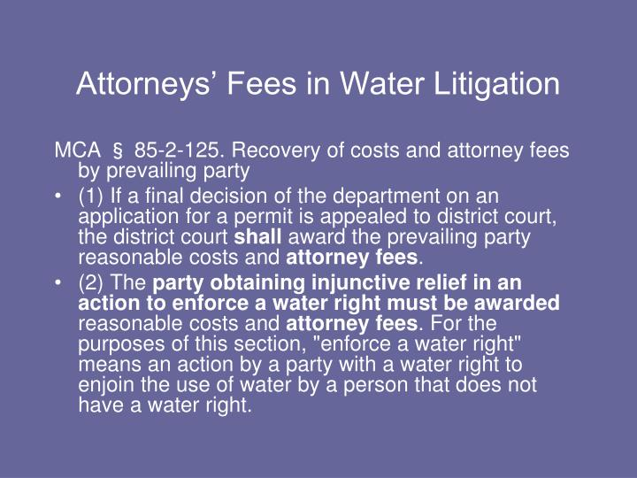 Attorneys' Fees in Water Litigation