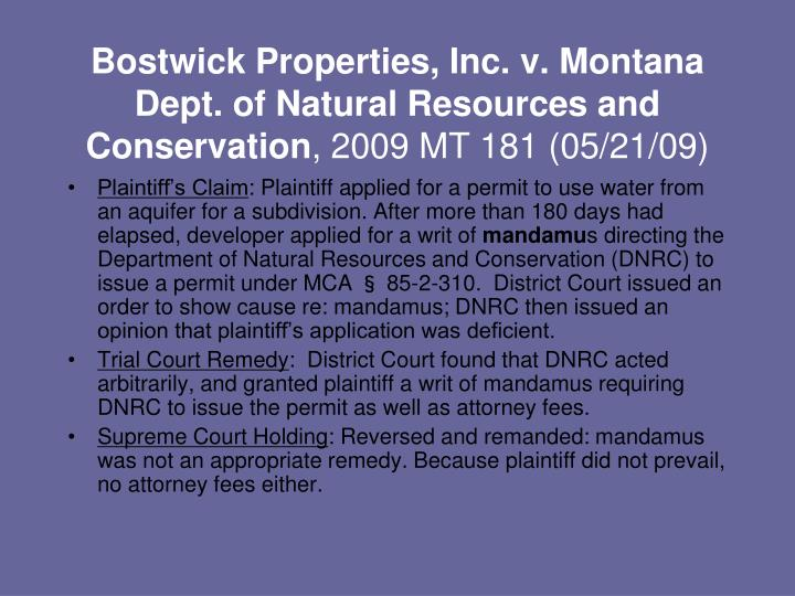 Bostwick Properties, Inc. v. Montana Dept. of Natural Resources and Conservation
