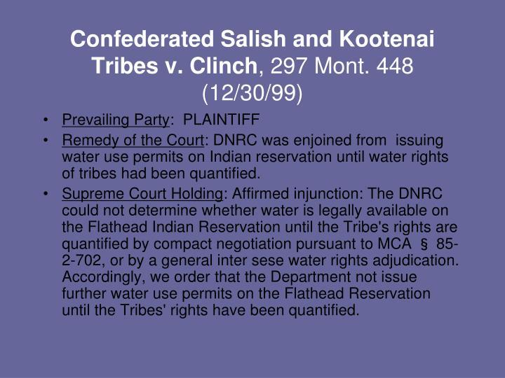 Confederated Salish and Kootenai Tribes v. Clinch