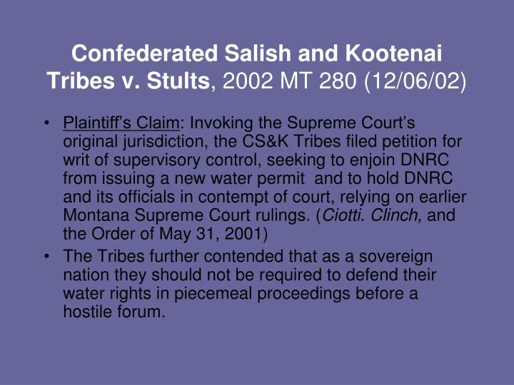 Confederated Salish and Kootenai Tribes v. Stults