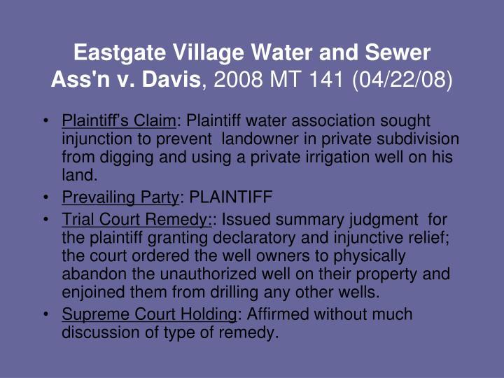 Eastgate Village Water and Sewer Ass'n v. Davis