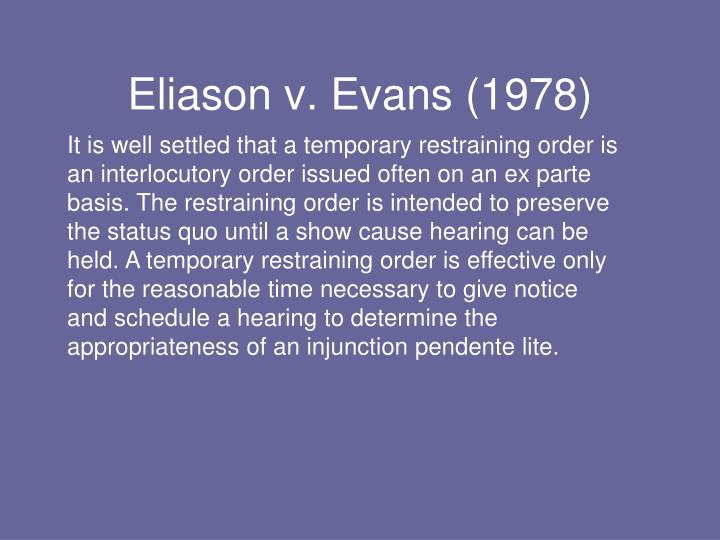 Eliason v. Evans (1978)