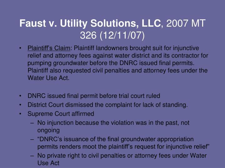 Faust v. Utility Solutions, LLC