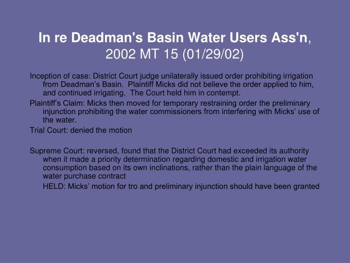 In re Deadman's Basin Water Users Ass'n