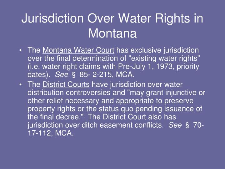 Jurisdiction Over Water Rights in Montana