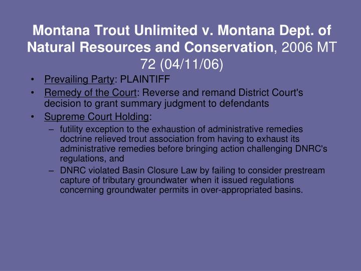 Montana Trout Unlimited v. Montana Dept. of Natural Resources and Conservation