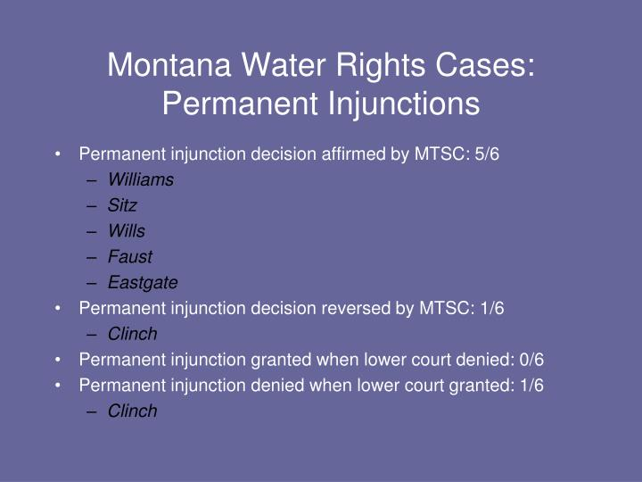 Montana Water Rights Cases: Permanent Injunctions