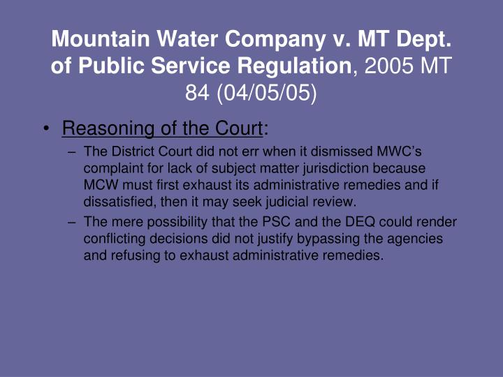 Mountain Water Company v. MT Dept. of Public Service Regulation