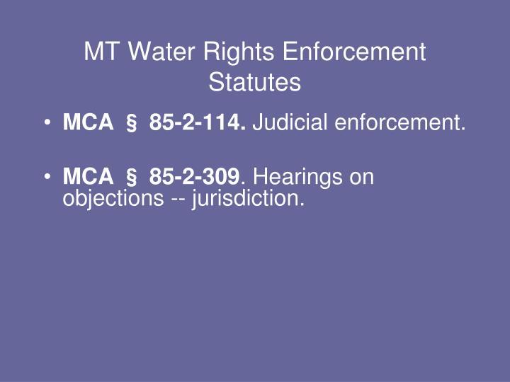 MT Water Rights Enforcement Statutes