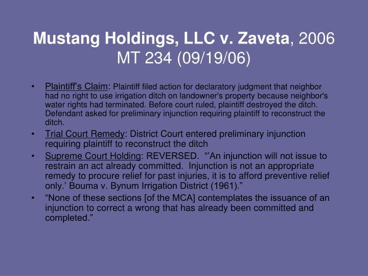 Mustang Holdings, LLC v. Zaveta