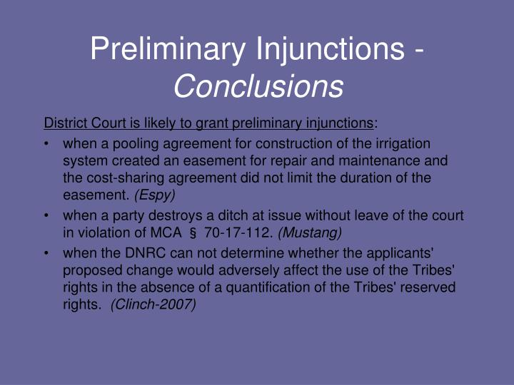 Preliminary Injunctions -