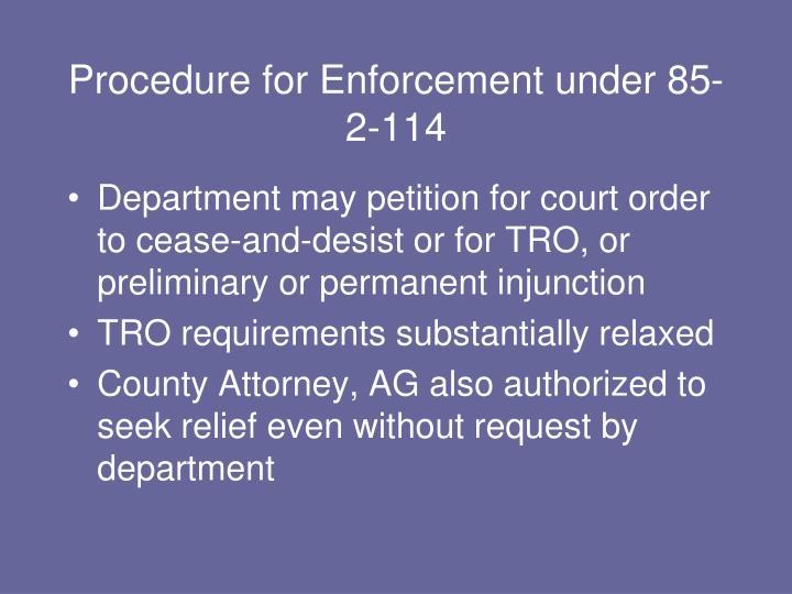 Procedure for Enforcement under 85-2-114