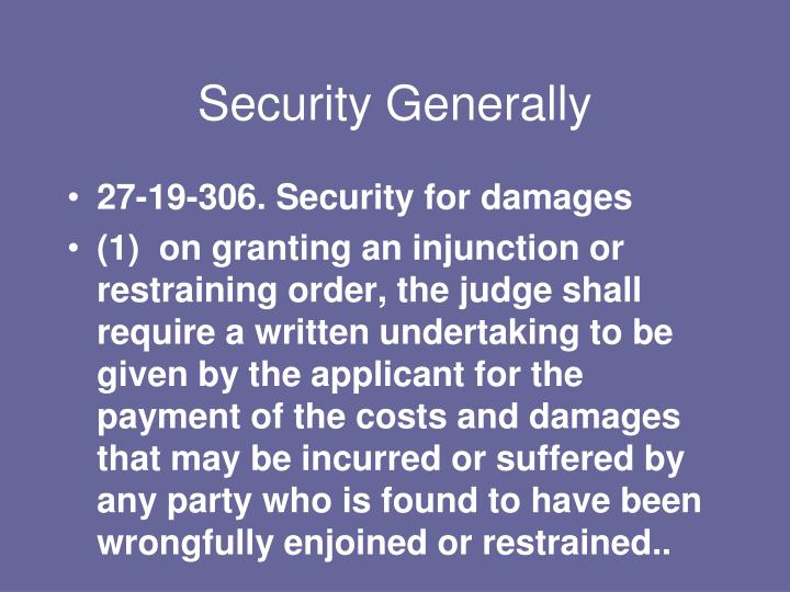 Security Generally