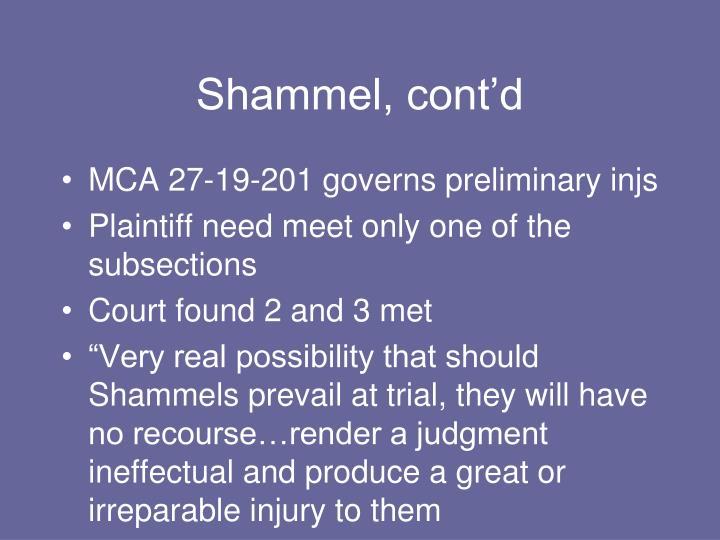 Shammel, cont'd