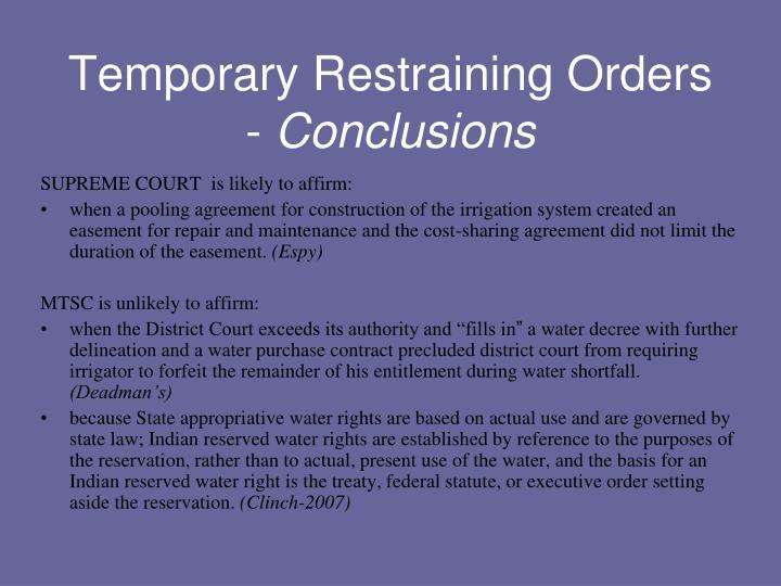 Temporary Restraining Orders -