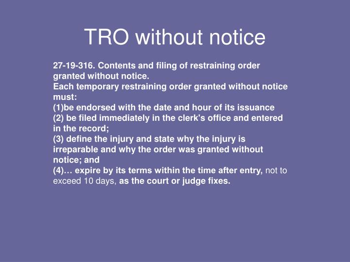 TRO without notice