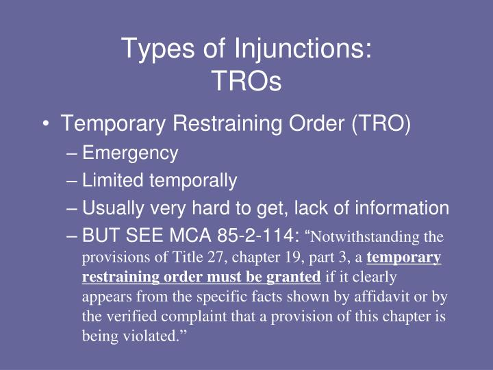 Types of Injunctions: