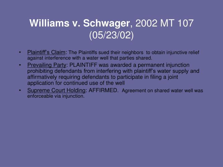 Williams v. Schwager