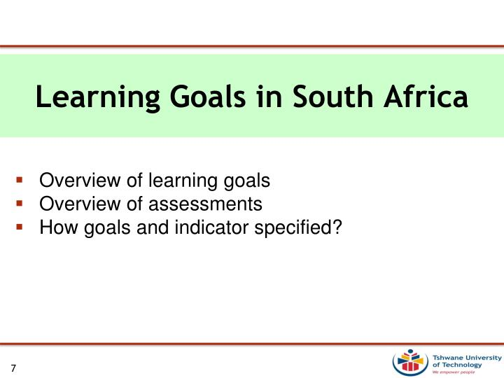 Learning Goals in South Africa