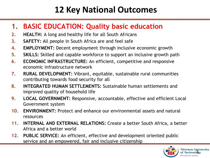 12 Key National Outcomes