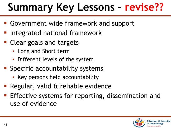 Summary Key Lessons –