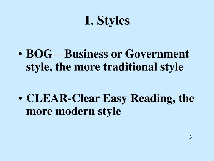 1. Styles