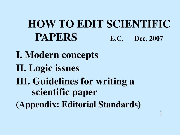 HOW TO EDIT SCIENTIFIC PAPERS